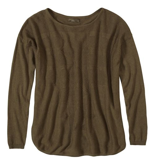 Womens prAna Stacia Sweater Long Sleeve Non-Technical Tops - Green/Green XL
