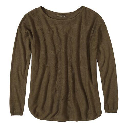 Womens prAna Stacia Sweater Long Sleeve Non-Technical Tops - Green/Green XL