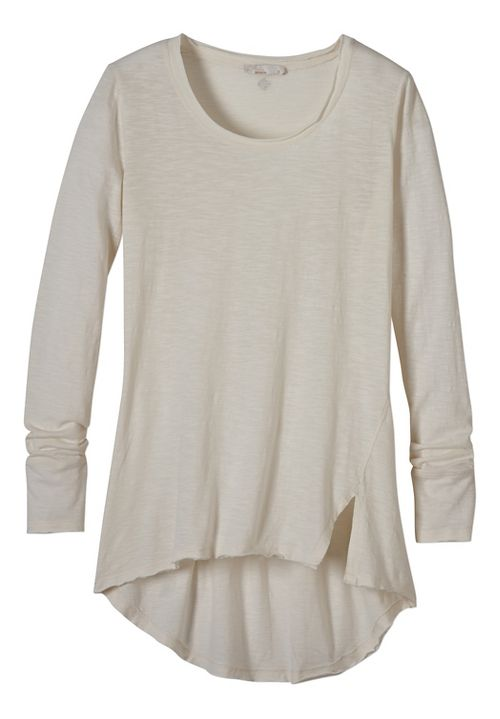 Womens prAna Stellan Tunic Long Sleeve Non-Technical Tops - White XL