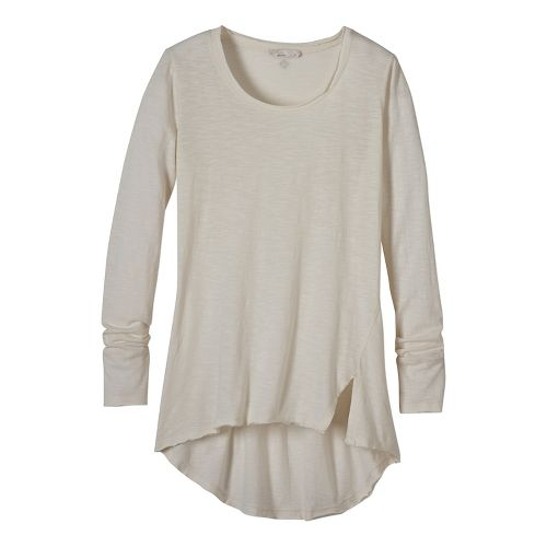 Womens prAna Stellan Tunic Long Sleeve Non-Technical Tops - White XL