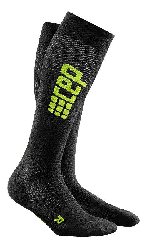 Womens CEP Progressive+ Ultralight Compression Run Socks Injury Recovery - Black/Green M