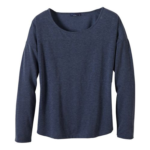 Womens prAna Vicky Long Sleeve Non-Technical Tops - Grey L