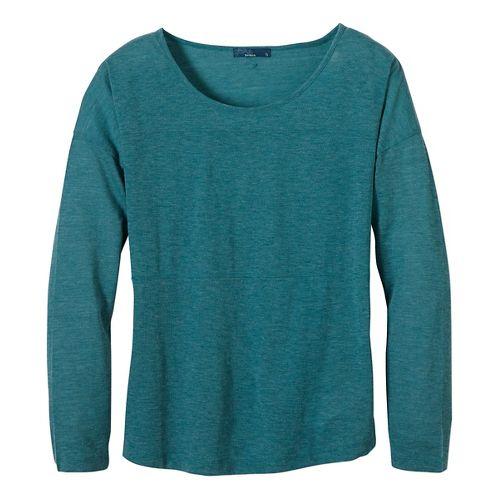 Womens prAna Vicky Long Sleeve Non-Technical Tops - Green XL