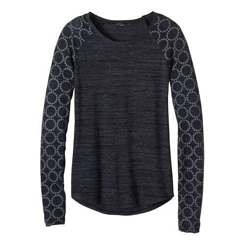 Womens prAna Zanita Long Sleeve Non-Technical Tops - Grey M