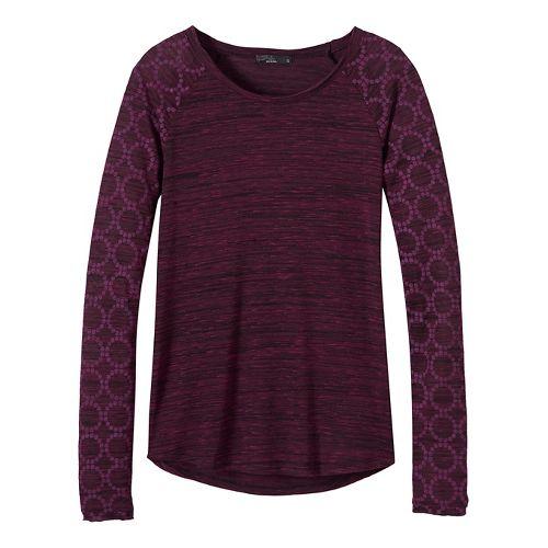 Womens prAna Zanita Long Sleeve Non-Technical Tops - Purple L