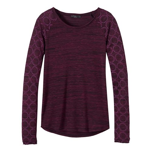 Womens prAna Zanita Long Sleeve Non-Technical Tops - Purple XS