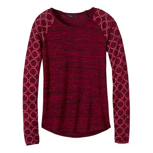 Womens prAna Zanita Long Sleeve Non-Technical Tops - Red L