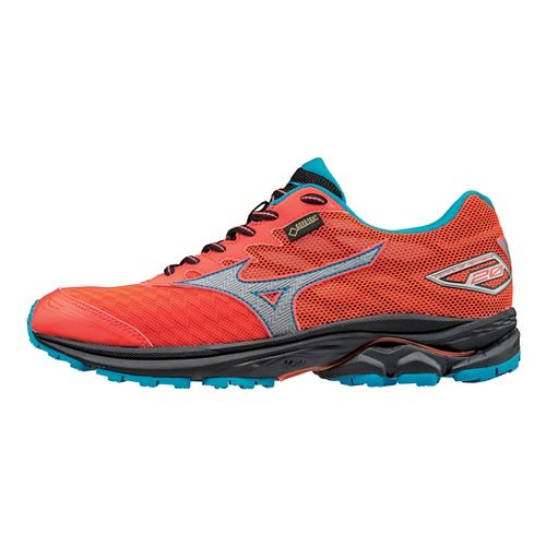 Womens Mizuno Wave Rider 20 GTX Running Shoe - Coral/Blue 10