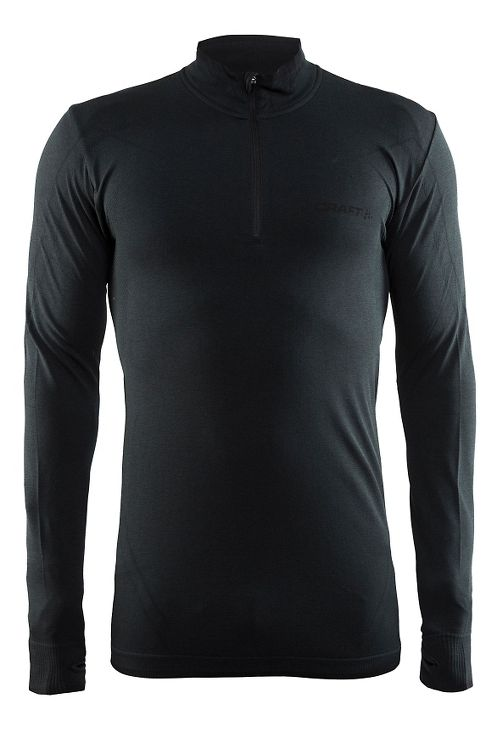 Mens Craft Active Comfort Zip Long Sleeve Technical Tops - Black XL