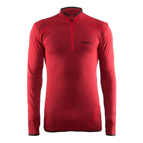 Mens Craft Active Comfort Zip Long Sleeve Technical Tops - Drama Red M