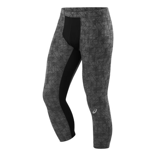 Mens ASICS 3/4 Tight Capris Pants - Dark Grey Geo M