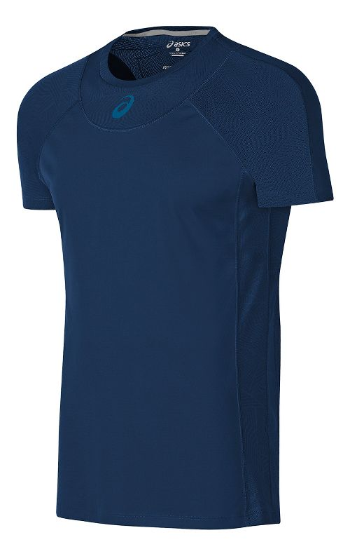 Mens ASICS Athlete Cooling Short Sleeve Technical Tops - Indigo Blue S