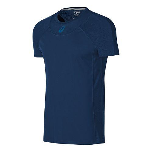Mens ASICS Athlete Cooling Short Sleeve Technical Tops - Indigo Blue M
