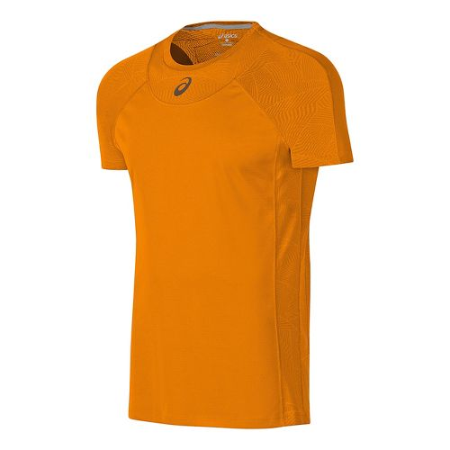 Mens ASICS Athlete Cooling Short Sleeve Technical Tops - Orange Pop L