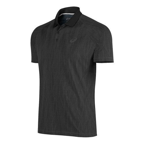 Mens ASICS Club GPX Polo Short Sleeve Technical Tops - Black L