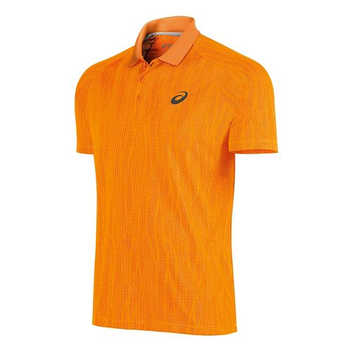 Mens ASICS Club GPX Polo Short Sleeve Technical Tops - Orange Pop L