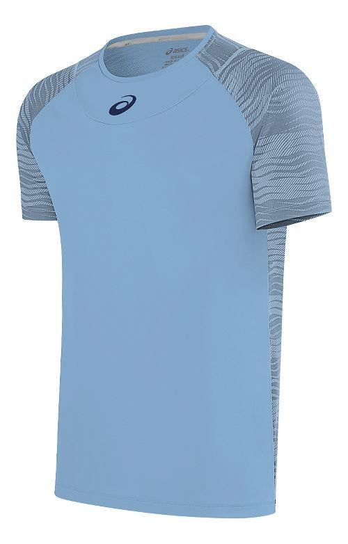 Mens ASICS Club GPX Short Sleeve Technical Tops - Powder Blue M