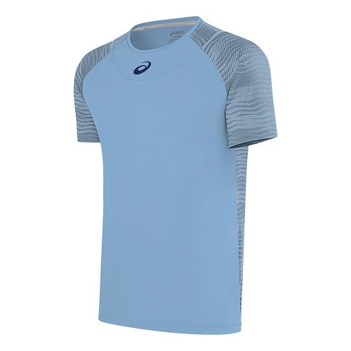 Mens ASICS Club GPX Short Sleeve Technical Tops - Powder Blue L