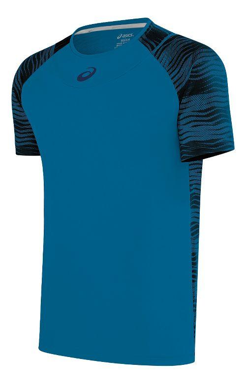 Mens ASICS Club GPX Short Sleeve Technical Tops - Thunder Blue S