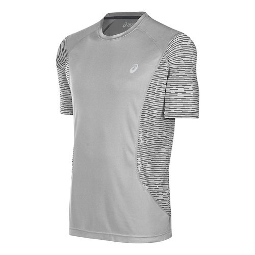 Mens ASICS Favorite Printed Short Sleeve Technical Tops - Midgrey XXL