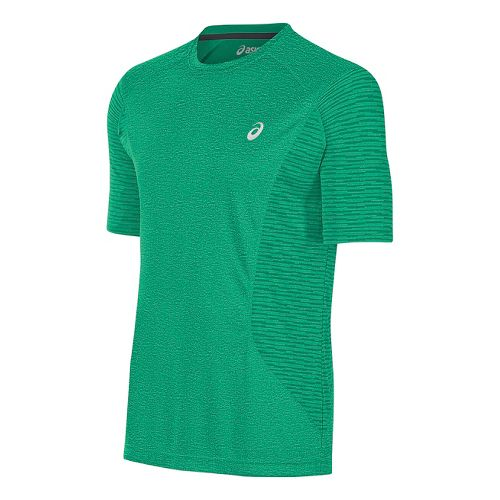Mens ASICS Favorite Printed Short Sleeve Technical Tops - Jungle Green Heather L