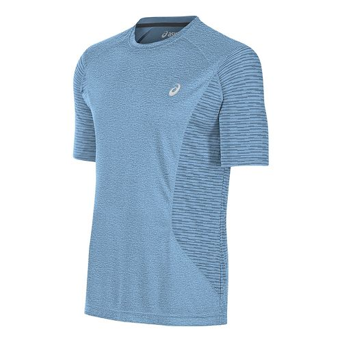 Mens ASICS Favorite Printed Short Sleeve Technical Tops - Powder Blue Heather M