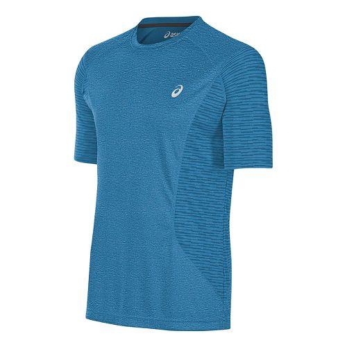 Mens ASICS Favorite Printed Short Sleeve Technical Tops - Thunder Blue Heather M