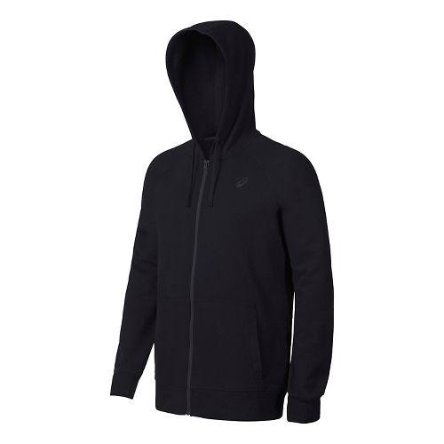 Mens ASICS Fleece Half-Zips & Hoodies Technical Tops - Black L