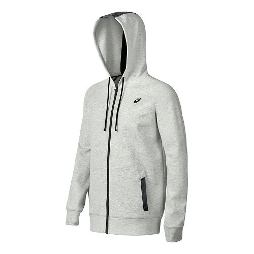 Mens ASICS Fleece Half-Zips & Hoodies Technical Tops - Light Grey Heather M