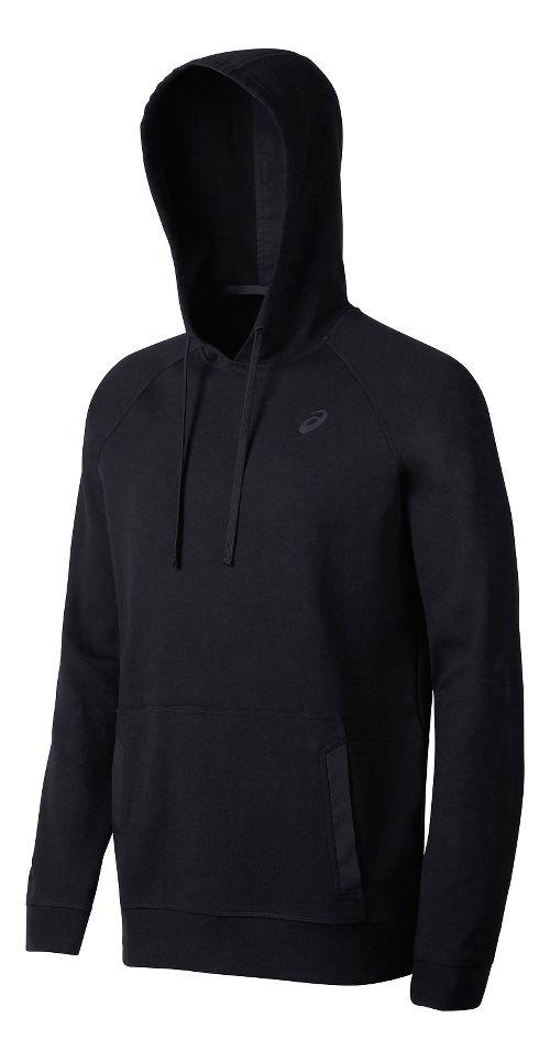 Mens ASICS Fleece Pullover Half-Zips & Hoodies Technical Tops - Black XXL