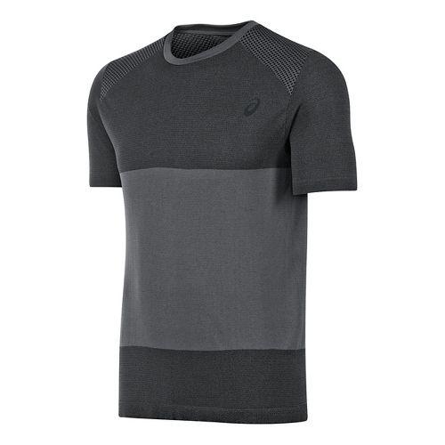 Mens ASICS fuzeX Seamless Short Sleeve Technical Tops - Dark Grey S