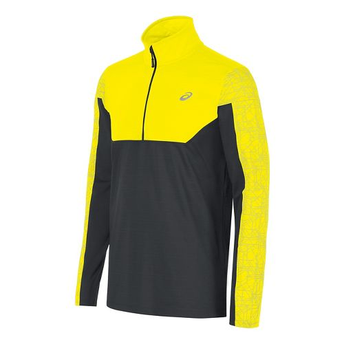 Mens ASICS Lite-Show Half-Zips & Hoodies Technical Tops - Yellow/Dark Grey M