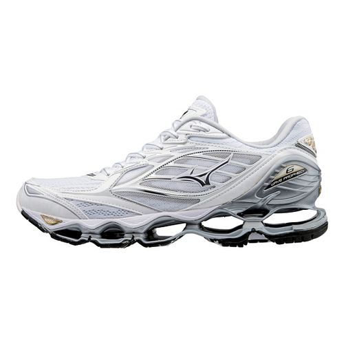 Womens Mizuno Wave Prophecy 6 Running Shoe - White/Gold 7