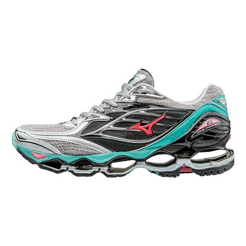 Womens Mizuno Wave Prophecy 6 Running Shoe - Silver/Turquoise 7.5