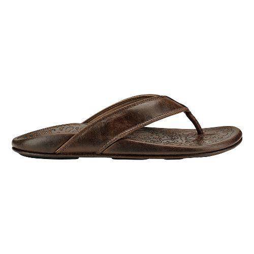 Mens Olukai Waimea Sandals Shoe - Dark Wood/Dark Wood 14
