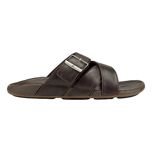 Mens Olukai Kaupe'a Sandals Shoe - Dark Wood/Dark Wood 11
