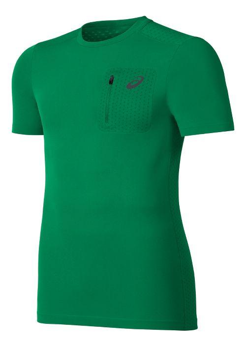 Mens ASICS Elite Tee Short Sleeve Technical Tops - Jungle Green L