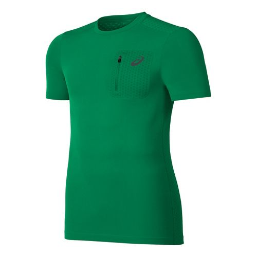 Mens ASICS Elite Tee Short Sleeve Technical Tops - Jungle Green L