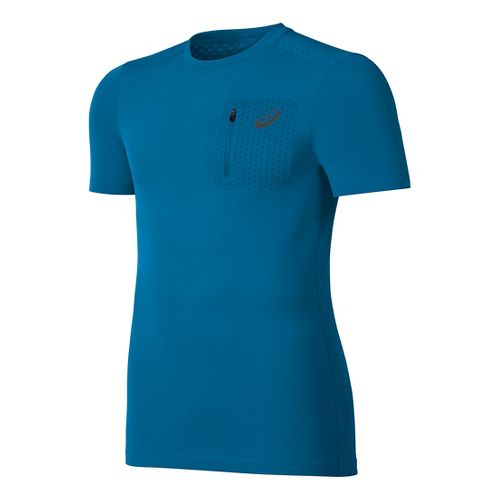 Mens ASICS Elite Tee Short Sleeve Technical Tops - Thunder Blue S