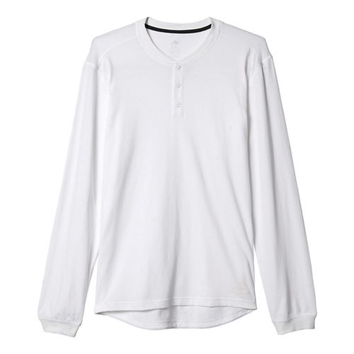 Mens Adidas Cotton Tee Long Sleeve Technical Tops - White/Black S