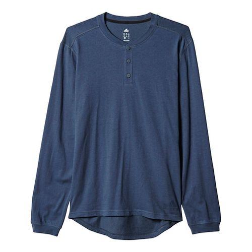 Mens Adidas Cotton Tee Long Sleeve Technical Tops - Utility Blue/Black M