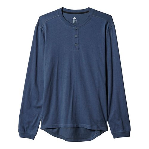 Mens Adidas Cotton Tee Long Sleeve Technical Tops - Utility Blue/Black XL