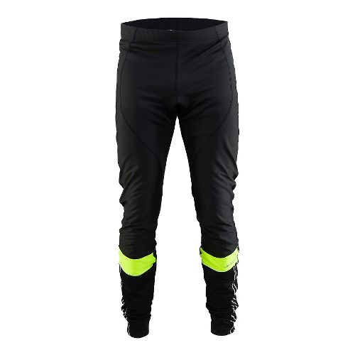 Mens Craft Velo Thermal Wind Tights & Leggings Pants - Black/Yellow S