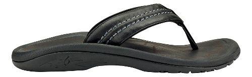 Mens Olukai Hokua Leather Sandals Shoe - Black/Black 7
