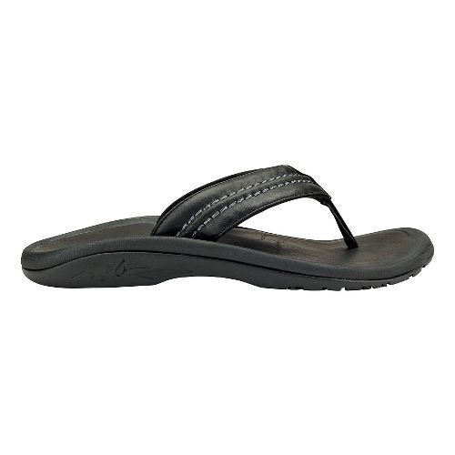 Mens Olukai Hokua Leather Sandals Shoe - Black/Black 7