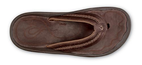 Mens Olukai Hokua Leather Sandals Shoe - Dark Wood Dark Wood 7