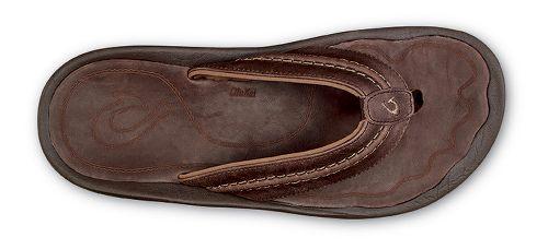 Mens Olukai Hokua Leather Sandals Shoe - Dark Wood Dark Wood 9