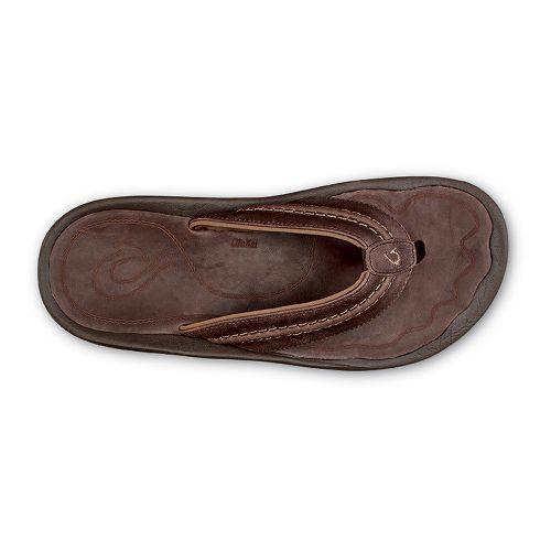 Mens Olukai Hokua Leather Sandals Shoe - Dark Wood Dark Wood 11