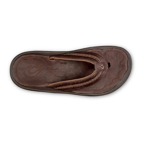 Mens Olukai Hokua Leather Sandals Shoe - Dark Wood Dark Wood 13