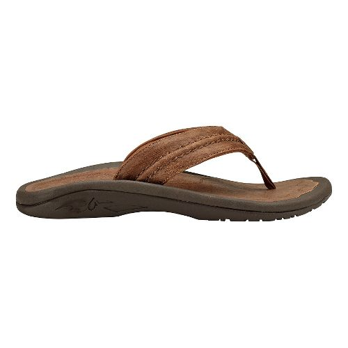 Mens Olukai Hokua Leather Sandals Shoe - Toffee/Toffee 11